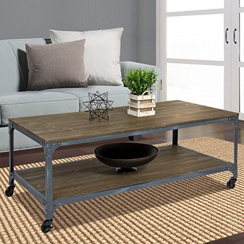 Best Choice Products Industrial Style Wheeled Coffee Table (Industrial Rustic Coffee Table compare prices)
