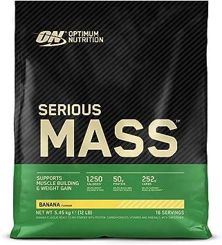 Optimum Nutrition Serious Mass Proteina en Polvo, Mass Gainer Alto en Proteína, con Vitaminas, Creatina y Glutamina, Plátano, 16 Porciones, 5,45kg, ...