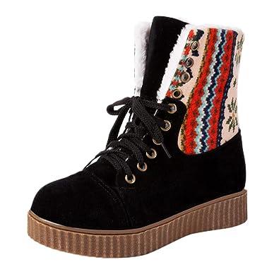 6cedeab2eb76 JIANGfu Women Winter Keep Warm Printed Thick Bottom Snow Boots ...