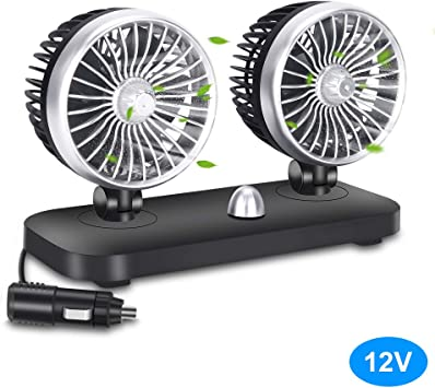 VIAV Electric Car Fan 12v DC Air Circulator Fans 2 Speed Adjustable Bladeless Cooling Fan for Vehicle SUV Truck and Boat