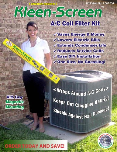 Air Conditioner Protector Filter Screen - Condensor Maintenance Helps to Protect from Leaves, Animal Hair, and Grass Clippings - Saves on Maintenance - 100% Money Back Guarantee - Cynergy Kleen Screen