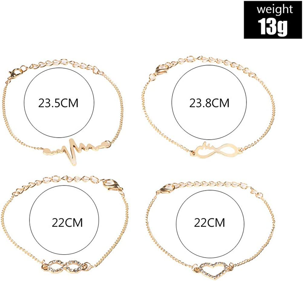 Xiton 4 Pcs Tiny Charm Dainty Handmade Bracelet Set Cute Charm Rhinestone Chain Bracelet for Women Girls Adjustable