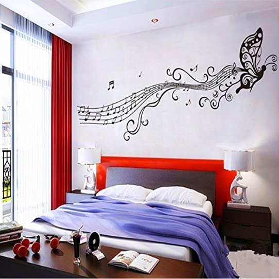 Chericare MUSIC NOTES VINYL WALL STICKER ART HOME ROOM DECOR DECAL  REMONABLE (Black) Part 85
