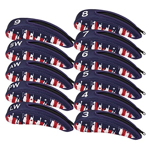 RoryTory 11pc Set Neoprene Zippered Golf Iron Mens Head Covers - Red/White/Blue (Golf Blue Monster)
