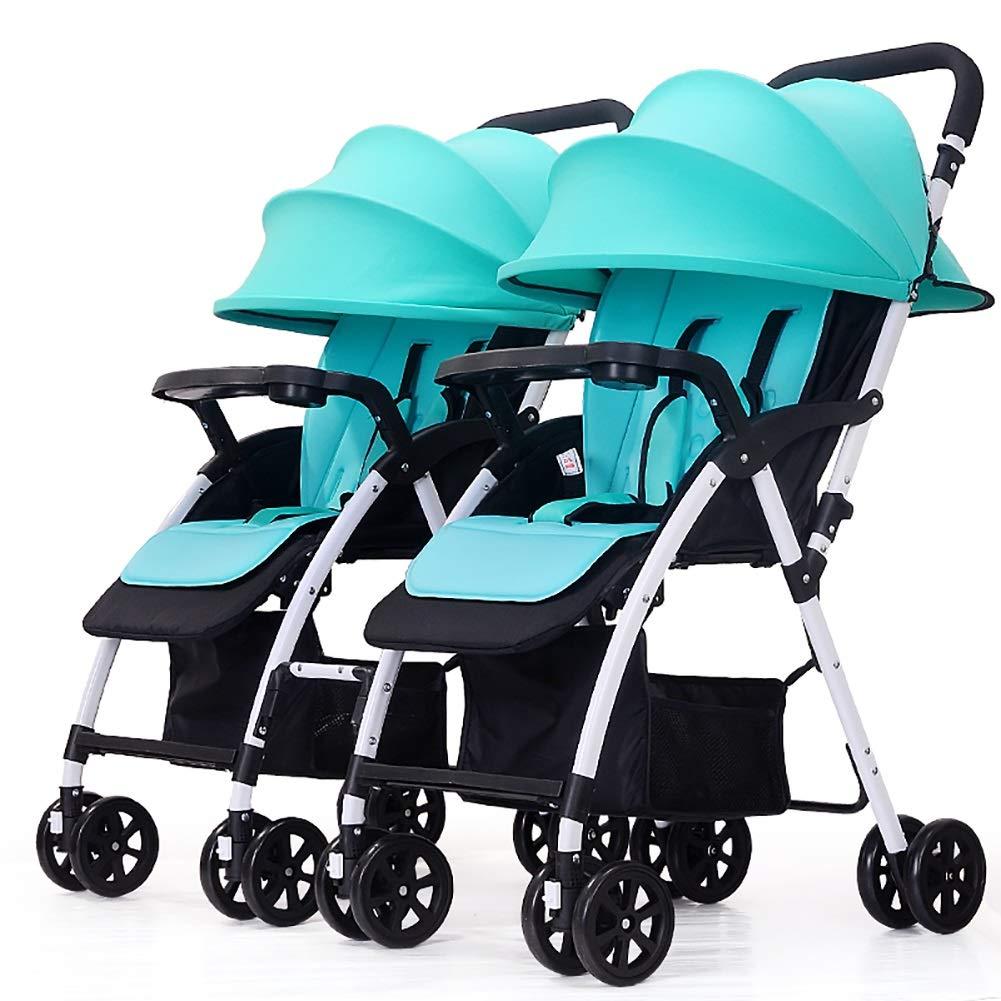 ツインベビーベビーカー、ダブル幼児用トロリー着脱式軽量折り畳み式ベビーキャリッジ (色 : 青)  青 B07QFP7R72