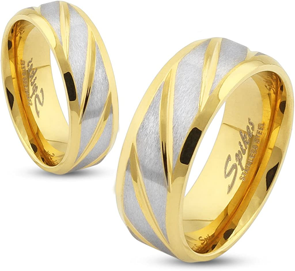6mm Two Tone Gold Tone Plated Diagonal Stripes Stainless Steel Wedding Band