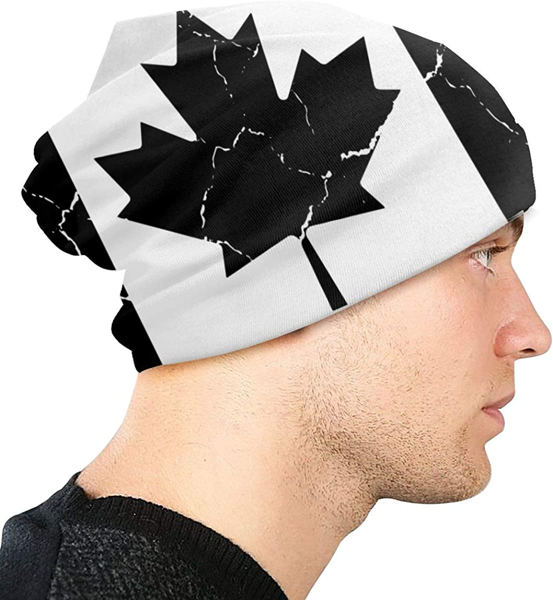 Lake-OD Canada Flag Crack Thin Baggy Slouchy Knit Beanie Hat Hip-hop Skull Cap for Mens and Womens