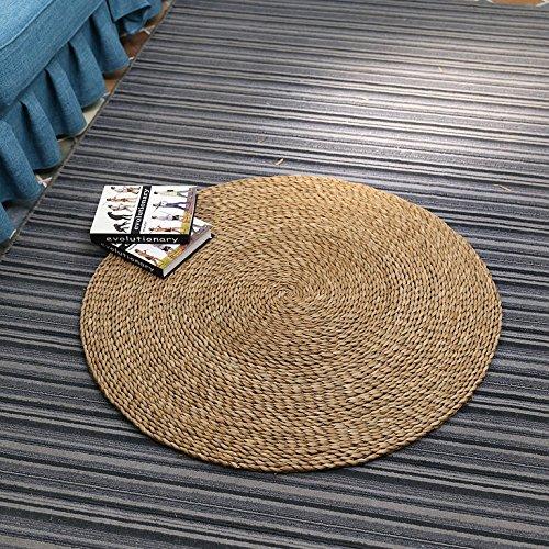 90cm diameter round beige brown straw floor mats and rugs/handmade round bedroom area mat/round tatami straw carpet/picnic rug