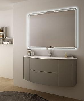 Meuble salle de bain suspendu moderne Eden Push Gris Taupe mesure