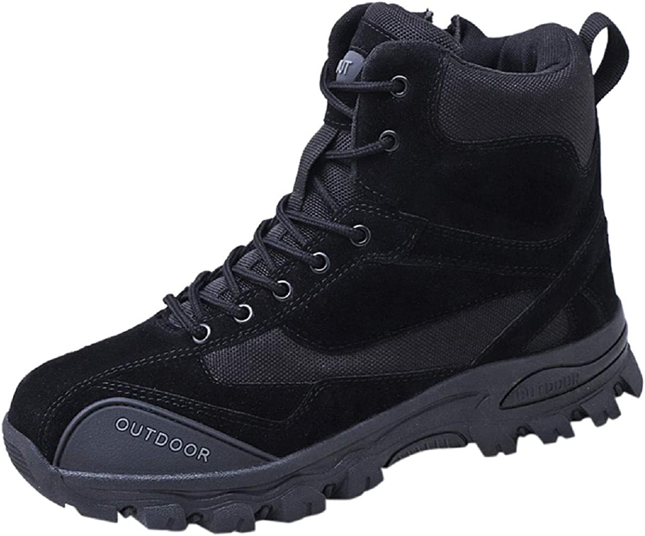 Tsmile Mens High-Top Lace Up Side Zipper Outdoor Climbing Boots Waterproof Canvas Round Toe Solid Resistant Shoes