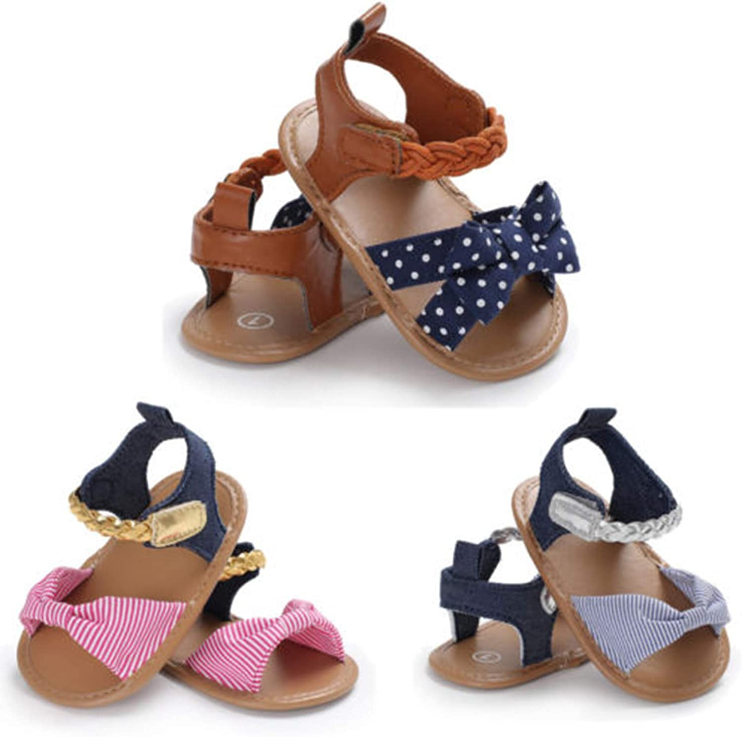 5 Colors Styles I Love Baby Toddler Girl Bowknot Sandals Soft Sole Anti-Slip Crib Shoes Prewalker 0-18M