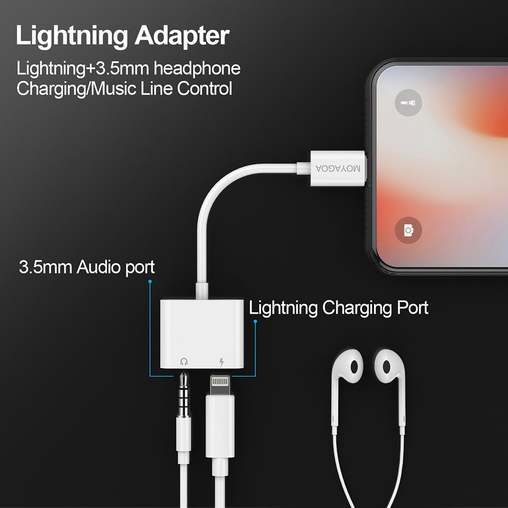 iPhone 8 Lightning Charger Headphone Jack 3.5mm iphone dongle Headphone Audio Adapter 2A Fast Charge Headphone Splitter - Compatible with IOS 11 (no call function or data transfer capability) MOYAGOA