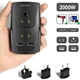 DOACE C11 2000W Travel Voltage Converter for Hair Dryer Straightener, Flat Iron, Set Down 220V to 110V, 10A Power Adapter with 2-port USB, EU/UK/AU/US Plug for Laptop, Camera, Cell Phone (Black)