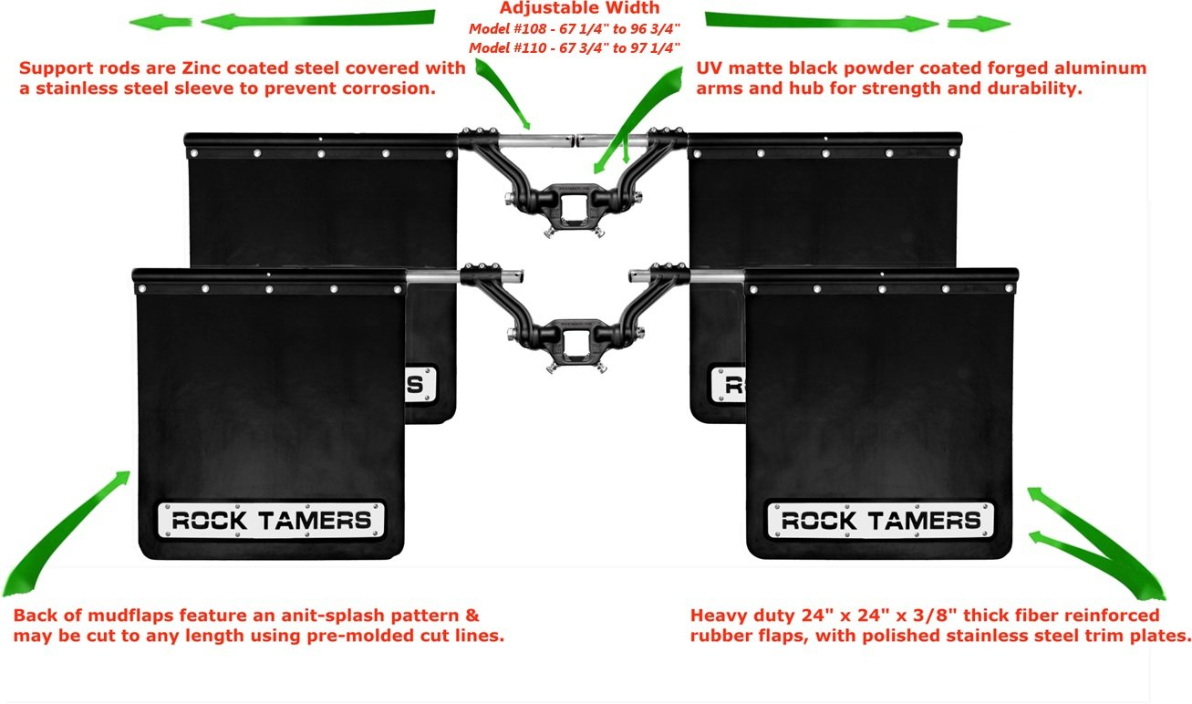 ROCK TAMERS (00110) 2.5'' Hub Mudflap System with Matte Black Stainless Steel Trim Plates by Rock Tamers (Image #5)