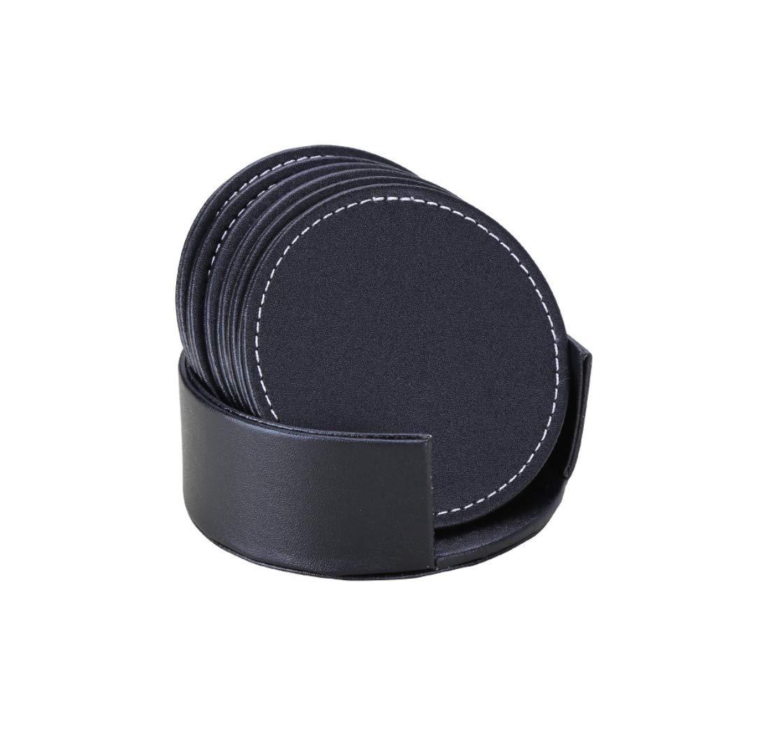 ソリッドカラーのレザーコースターセット美しいノンスリップ断熱プレースマットPUクリエイティブティーコースター(1つを無料で購入),Black,Round round Black B07G5DVBMZ
