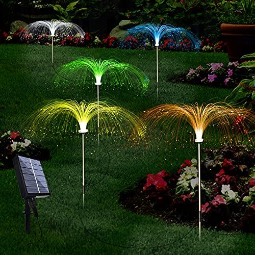 Upgraded Solar Garden Lights Outdoor 5 Pack, 7 Color Changing Solar Flowers Garden Lights, Waterproof Outdoor Decorative…