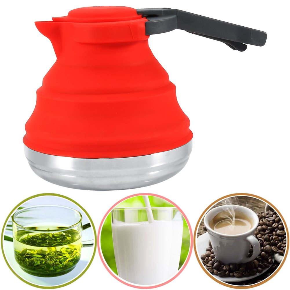 Collapsible Silicone Folding Kettle Camping Coffee Water Tea Pot 1200ml RED