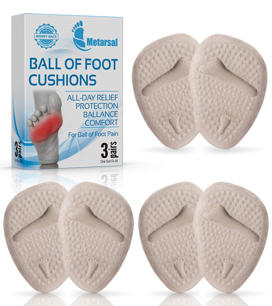 Metarsal Ball of Foot Cushion Pads, Metatarsal High Heel Inserts Pads, Forefoot Pain Relief with Massage Point, Soft Clear, Comfort, Reusable, One Size Fits Most Shoes for Men & Women 3 Pairs (Beige)