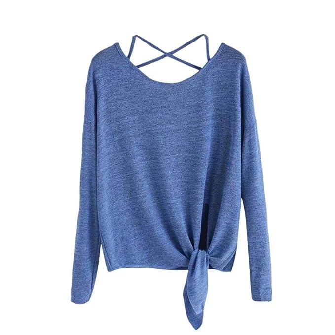 PAOLIAN Camisetas Ancho de Mujer Manga Largas Otoño 2018 Moda Blusa Espalda Descubierta Camisas Sólido Gris