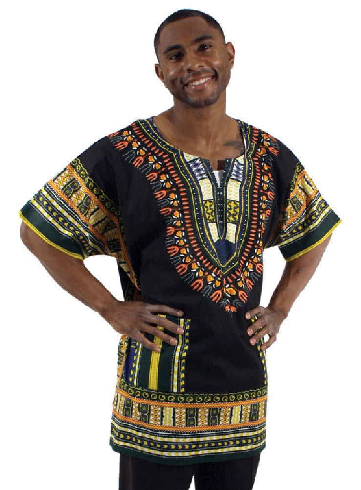 King-Sized Traditional Print Unisex Dashiki Top - Up to 68'' Chest - Available in Several Colors (2X, Black)