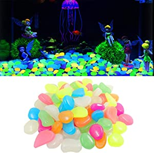 AnxunJim Glowing Rocks, Glow in The Dark Pebbles, Glow Decorative Stones for Garden Fish Tank Vase (500pcs, Mixed Color)