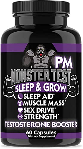 Angry Supplements Monster Test PM Testosterone Booster Plus Sleep Aid-Jack T-Levels All Natural