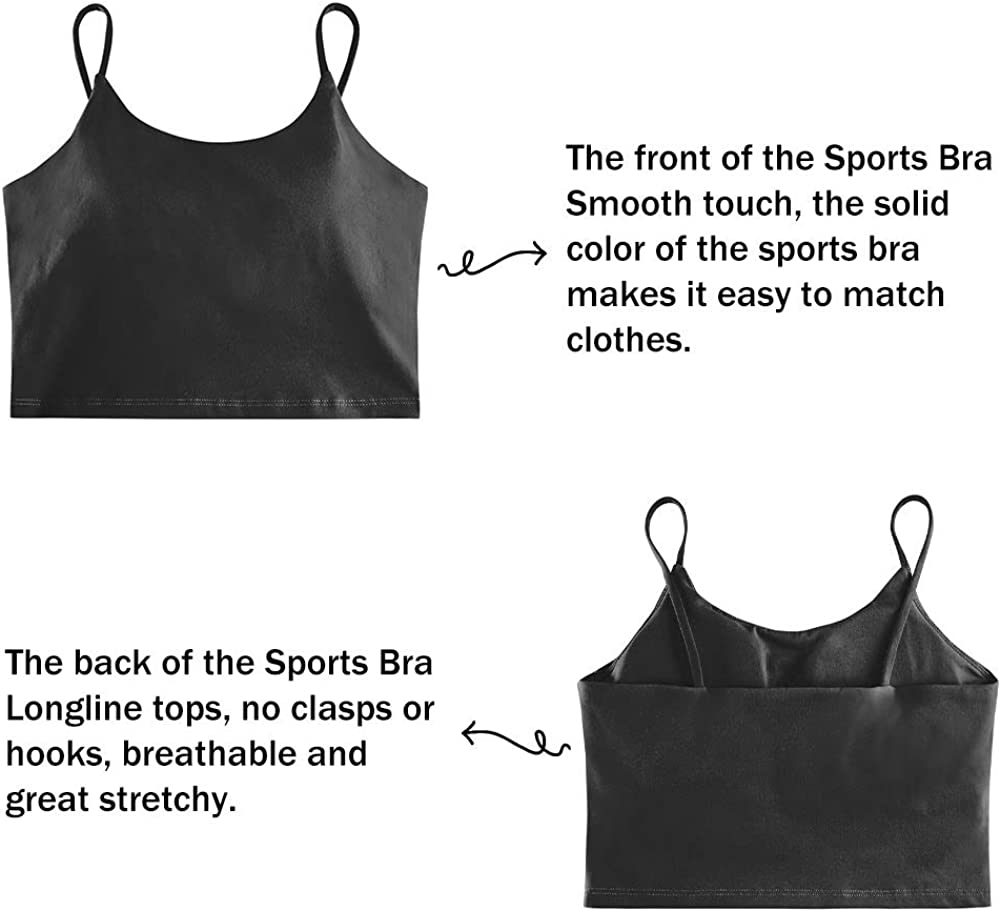Womens Sports Bras Comfy Padded Gym Workout Crop Top Camisole Shirt Running Cami Yoga Crop Tank Tops