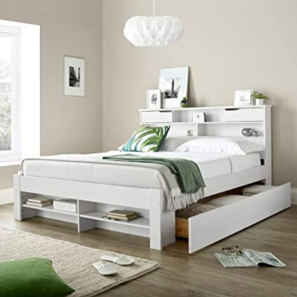 hot sale online 06707 0f196 2 Drawer Storage Bed, Happy Beds Fabio White Wooden Storage Bed With  Shelves - 5ft King Size (150 x 200 cm) Frame Only