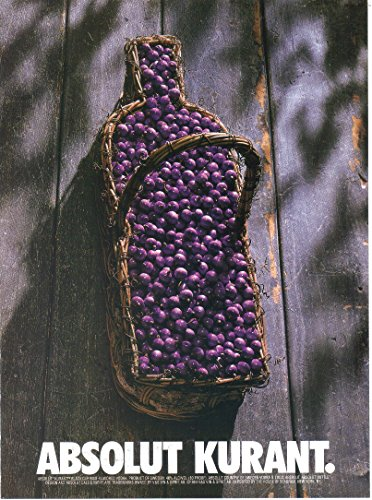 Vintage Print Ad: Absolut Kurant Black Cherry Vodka, Straw Basket 1994
