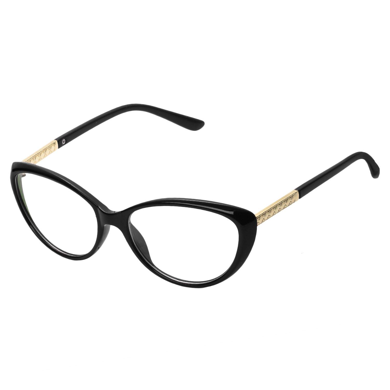 Forepin® Montura para Gafas de Vista Mujer Ojos De Gato Lente Transparentes Unisexo Hombre - Negro brillante