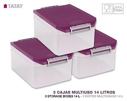 TATAY 1150120 Lote de 3 Cajas Multiusos en Plástico de Alta Calidad de 14 Litros de