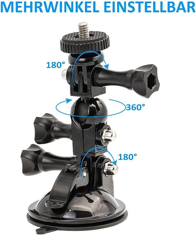 Brazo Corto + Brazo Largo + Adaptador de 1//4-20 EXSHOW Soporte para GoPro C/ámara Soporte Ventosa Coche para GoPro Hero 7 6 5 4 3 2 y Otras Acci/ón C/ámaras