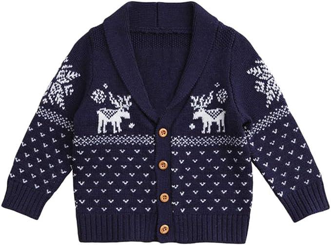YuanDian Neonato Bambino Bambina Natale Maglieria Cardigan Alce Stampa 100/% Cotton Pulsante Anteriore Aperto Maglioncino Bimba Natalizio Abbigliamento Golfino a Maglia 70-110cm