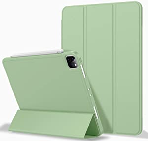 ZryXal iPad Pro 12.9 Case 2020 with Pencil Holder (4th Generation), Premium Protective Case Cover with Soft TPU Back and Auto Sleep/Wake Feature for 2020/2018 iPad Pro 12.9 (Matcha Green)