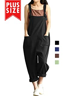 95b294e47a5 Women Plus Size Overalls Cotton Wide Leg Jumpsuits Vintage Baggy Pants  Casual Rompers