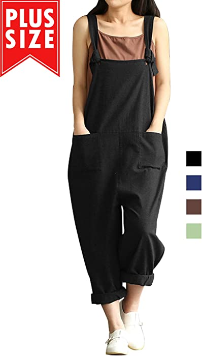 ed63d1637ba Lncropo Women Large Plus Size Baggy Linen Overalls Casual Wide Leg Pants  Sleeveless Rompers Jumpsuit Vintage