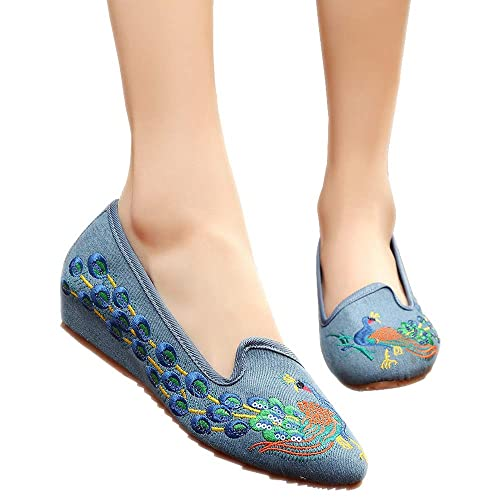 ZEVONDA Zapatos Mujer - Zapatos Planos Casual Bordados con Pavo Real Puntiagudos de Las Mujeres Zapatos