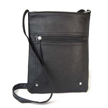 Haotfire Small Elegant PU Leather Crossbody Women s Casual Shoulder Bag  Business Satchel Purse (Black) 332542fb6