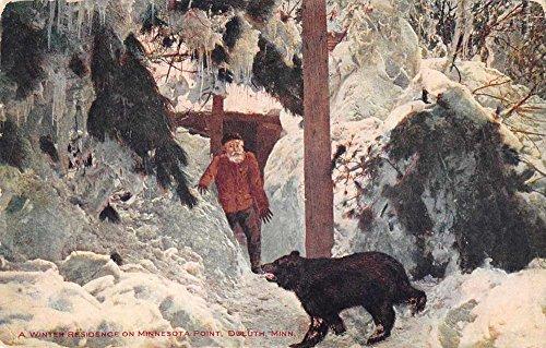 Duluth Minnesota man and bear winter scene Minnesota Point antique pc Z39760