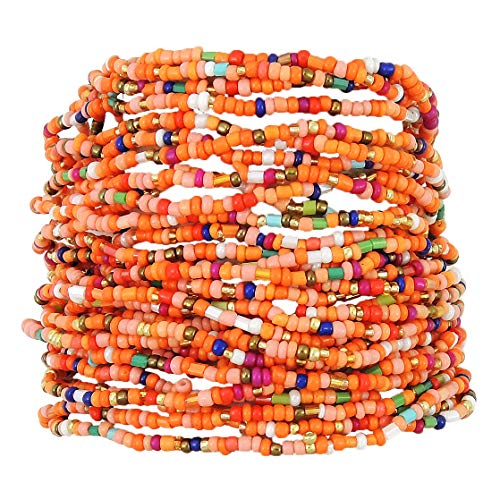 - Turquoise Network Womens Fashion Stretch Bracelet Multi-Strand Faux Beads Gemstone-Look Boho (Select Color) (Orange)