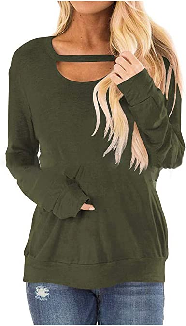 Fammison Womens Loose Casual Blouse Shirts Fashion Long Sleeve Round Neck Colorblock Tops