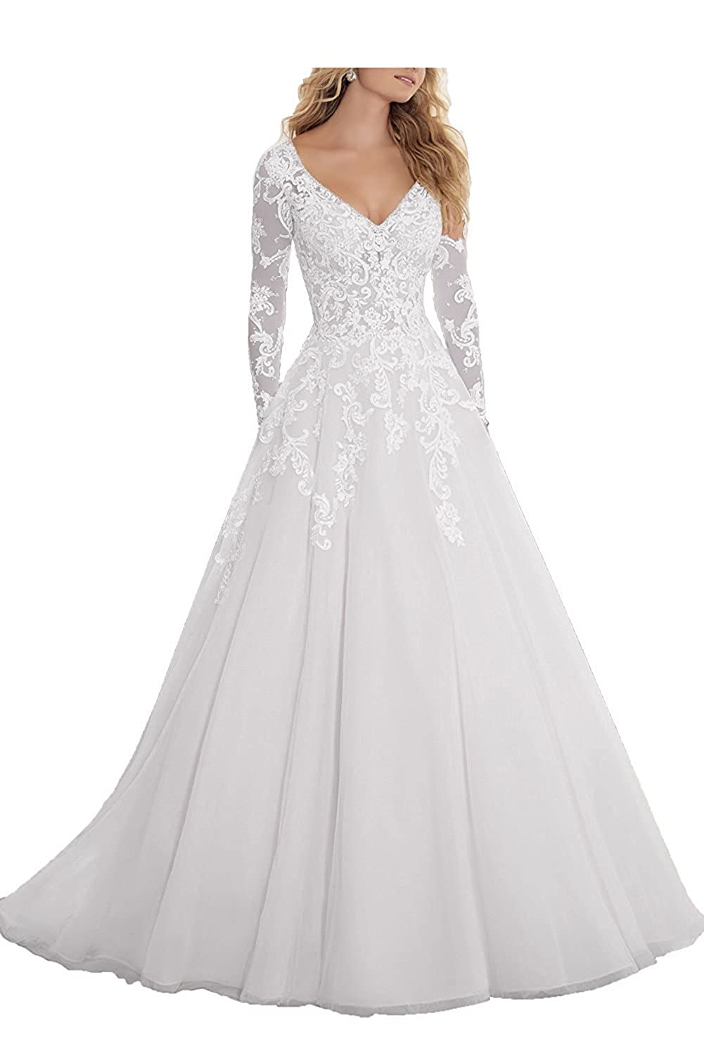 079d9b774756 Amazon.com  Abaowedding Women s Wedding Dress for Bride Long Beaded Lace  Appliques V Neck Bridal Gown  Clothing