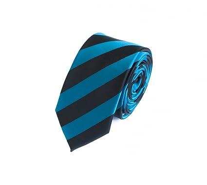 Estrecho Corbata de Fabio Farini en azul y negro a rayas 6cm Ancho ...
