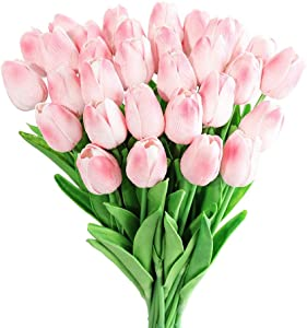 Kisflower 30Pcs Artificial Tulip Flowers Fake Tulips Bouquet Real Touch Flowers for Decor (Pink)