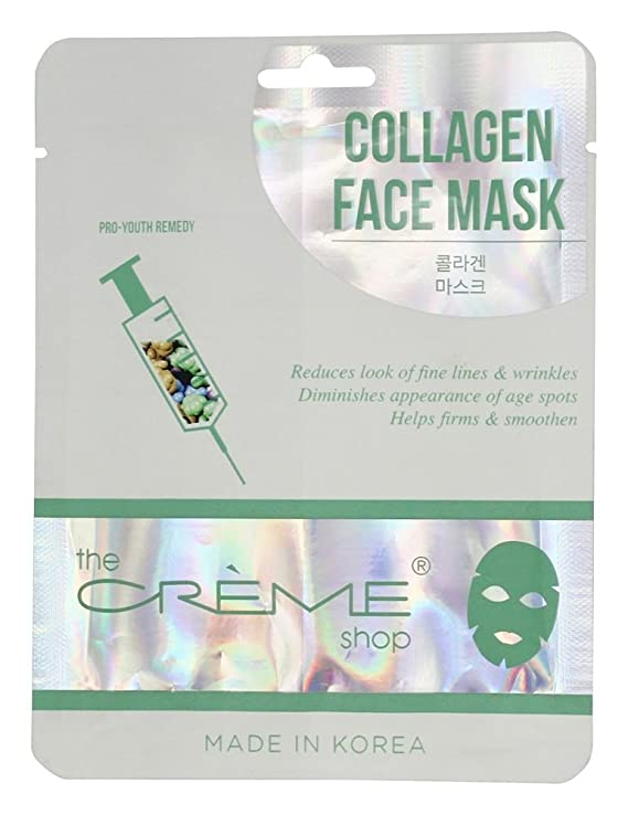 Collagen Face Sheet Mask - 1 Count by The Creme Shop (pack of 6) Freeman Feeling Beautiful Facial Exfoliating Scrub Pink Grapefruit 6 oz (Pack of 2)