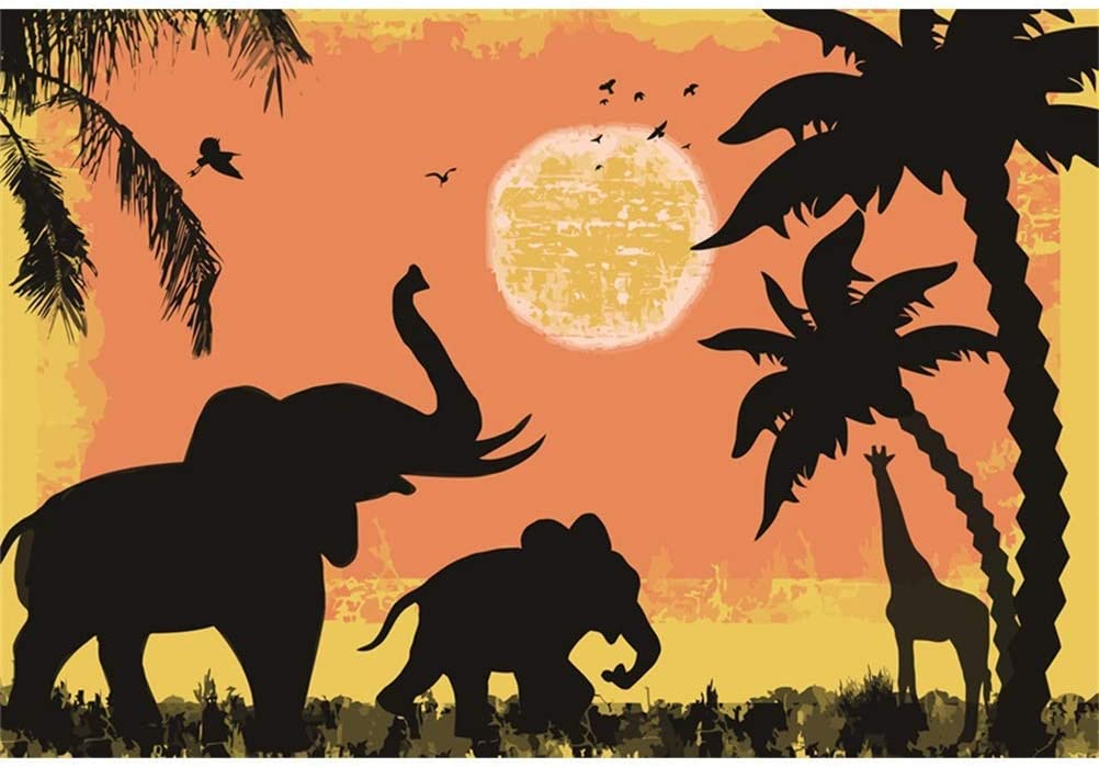 Cartoon Zoo Polyester Photography Background 10x6.5ft Elephants Giraffe Coconut Palms Sketch Sun Flying Birds Baby Birthday Backdrop Kids Room Wallpaper Baby Shower Environment Protect