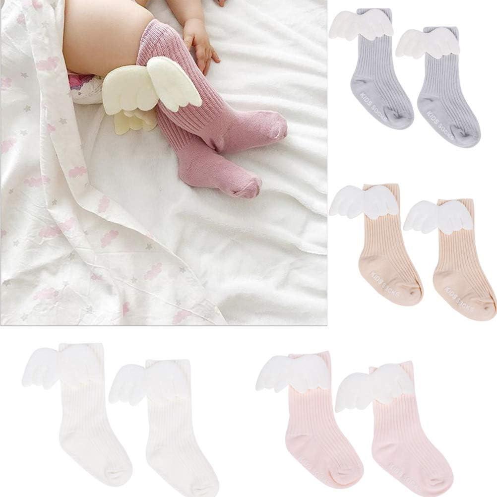 TOYANDONA 4 Pairs Baby Girls Socks Angel Wing Cotton Socks for Kids Home Outdoor