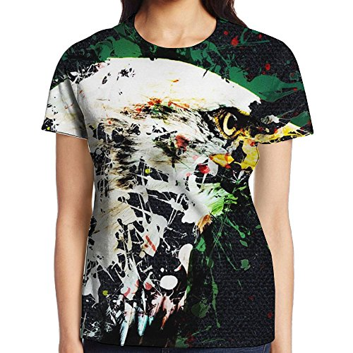Eagle Art Beak Young Women's Teen Short Sleeve Printed Fitted Tee Round Neck T-Shirt Casual Blouse -