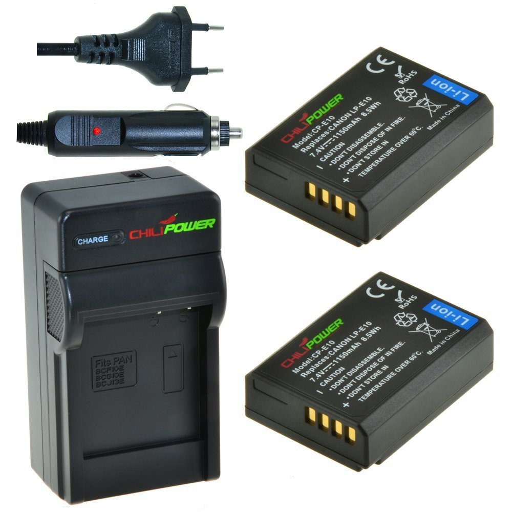 Chili Power CP de E10 Kit; 2 x Batería (1150 mAh) + Cargador para Canon EOS 1100d, EOS Rebel T3, EOS Kiss X50