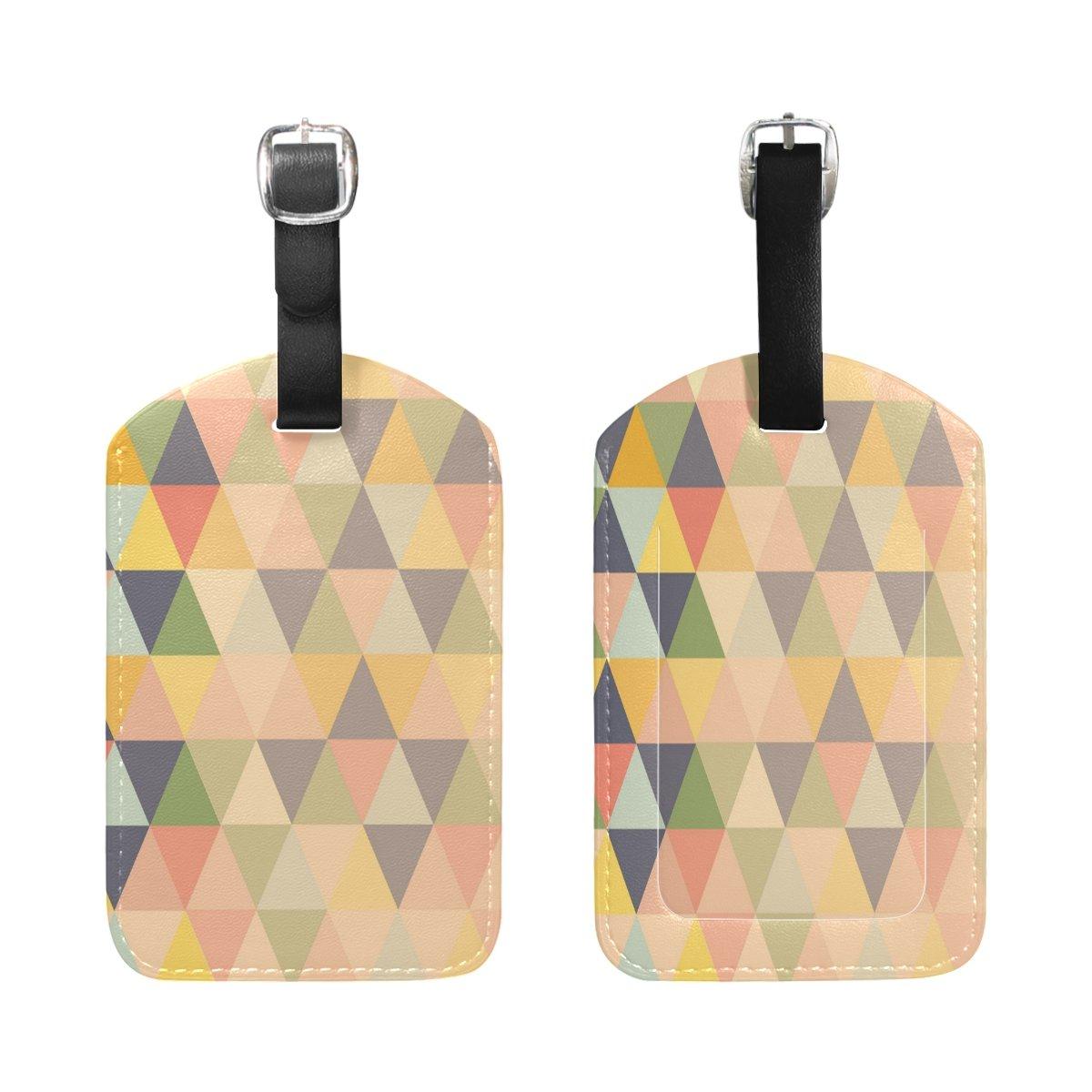 1Pcs Saobao Travel Luggage Tag Colorful Mosaic Illustration PU Leather Baggage Suitcase Travel ID Bag Tag